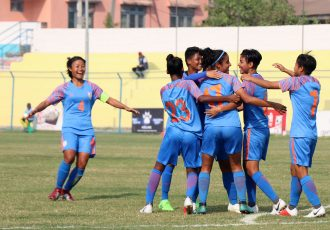 Indian Women's national team players celebrating a goal. (Photo courtesy: AIFF Media)