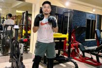 Indian national team striker Jeje Lalpekhlua at a gym in in Aizawl, Mizoram. (Photo courtesy: Jeje Lalpekhlua)