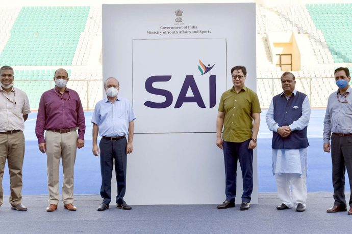The Minister of State for Youth Affairs & Sports (Independent Charge) and Minority Affairs, Shri Kiren Rijiju at the virtual launch of the logo of SAI (Sports Authority of India's), at National Stadium, New Delhi on September 30, 2020. The Secretary (Sports), Shri Ravi Mittal and other dignitaries are also seen. (Photo courtesy: Press Information Bureau - Government of India)