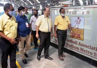"Subrata Dutta, Senior Vice-President, All India Football Federation during the inauguration of the ""Indian Football Association (IFA) Salt Lake Stadium"" metro station. (Photo courtesy: AIFF Media)"