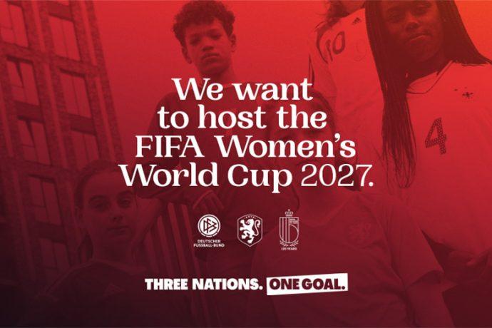 Three Nations. One Goal. 2027 FIFA Women's World Cup bid. (Image courtesy: DFB)