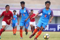 Ashalata Devi (#4) in action for the Indian women's national team. (Photo courtesy: AIFF Media)