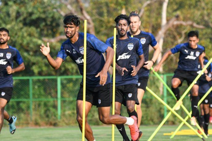 Bengaluru FC players in training at the Dempo SC training facilities in Carambolim, Goa. (Photo courtesy: AIFF Media)
