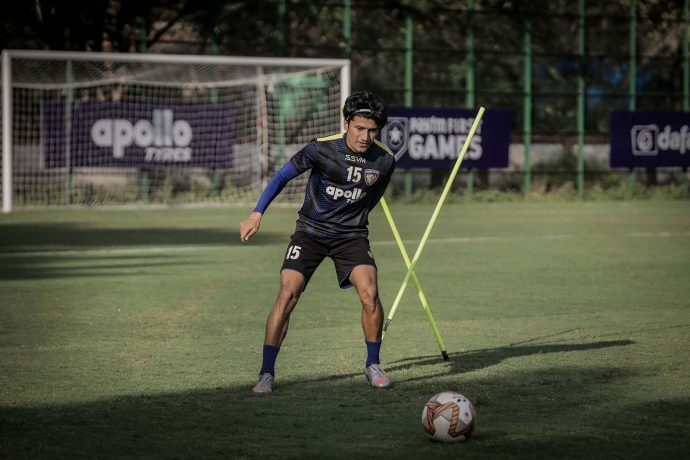Chennaiyin FC vice-captain and midfielder Anirudh Thapa in training. (Photo courtesy: Chennaiyin FC)