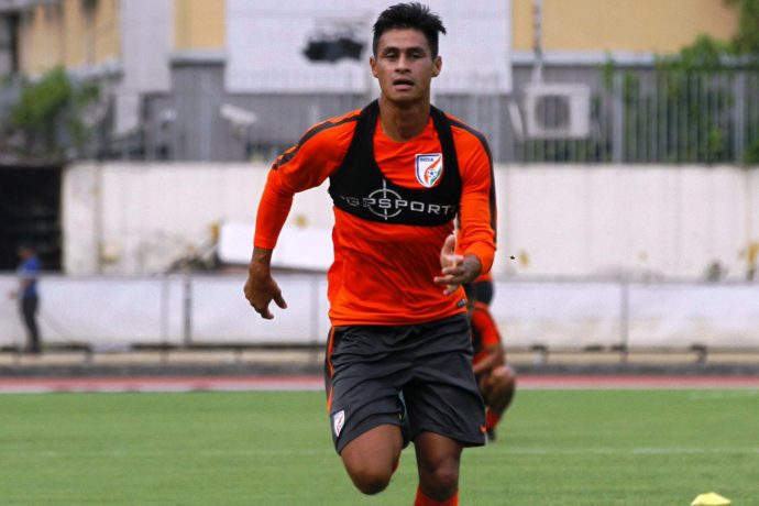 Indian national team midfielder Eugeneson Lyngdoh during a training session. (Photo courtesy: AIFF Media)