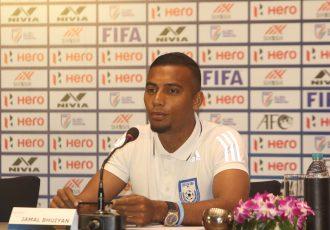 Bangladesh national team captain Jamal Bhuyan during a press conference. (Photo courtesy: AIFF Media)