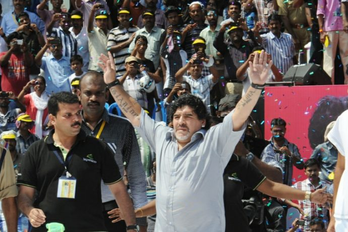 Argentina legend Diego Maradona during a visit to Kerala in October 2012.