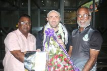 Mohammedan Sporting officials welcome new head coach Jose Hevia at the Kolkata Airport. (Photo courtesy: Mohammedan Sporting Club)