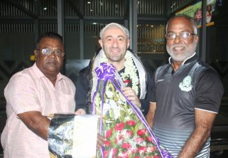 Mohammedan Sporting officials welcome new head coach Jose Hevia at the Kolkata Airport. (Photo courtesy: Mohammedan Sporting Club)