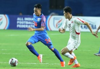 Amarjit Singh Kiyam in action for the Indian national team. (Photo courtesy: AIFF Media)