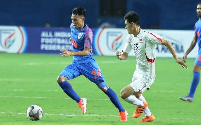 Amarjit Singh Kiyam in action for the Indian national team. (Photo courtesy: AIFF Media)