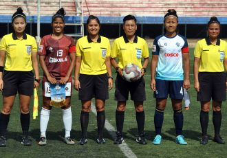 Pre-match photo ahead of the Hero Indian Women's League match Gokulam Kerala FC vs Sethu FC. (Photo courtesy: AIFF Media)