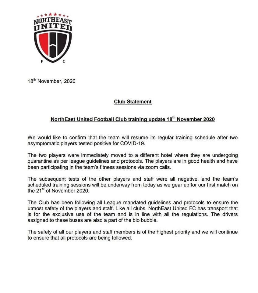 NorthEast United FC statement