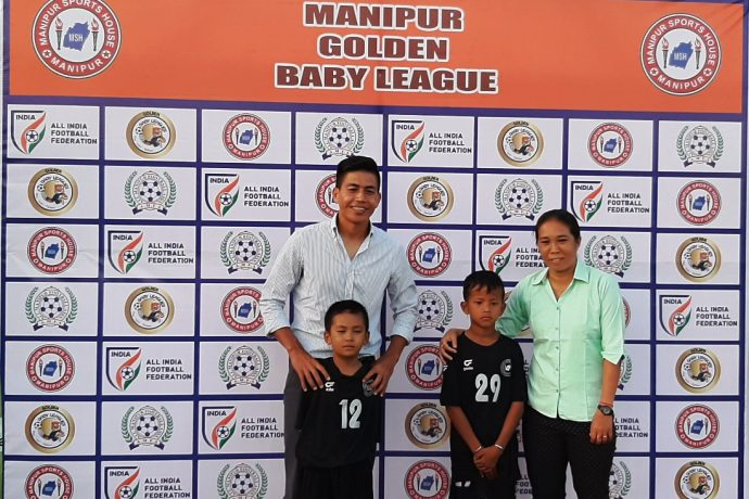 Indian football and Manipur legends Renedy Singh and Bembem Devi at the sidelines of the Golden Baby Leagues in Manipur. (Photo courtesy: AIFF Media)