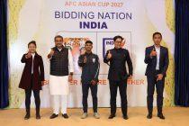 India WNT captain Ashalata Devi, AIFF President Praful Patel, India U-16 MNT star Shubho Paul, Minister of State for Youth Affairs and Sports (I/C) Kiren Rijiju and former India MNT star Gourmangi Moirangthem Singh at the AFC Asian Cup 2027 bid presentation on December 16, 2020. (Photo courtesy: AIFF Media)