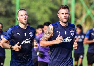 Bengaluru FC midfielder Erik Paartalu (left) and defender Juanan Gonzalez (right) in training at the Dempo SC facilities, in Carambolim. (Photo courtesy: Bengaluru FC)