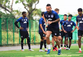 Bengaluru FC players in training at the Dempo SC training facilities in Carambolim, Goa. (Photo courtesy: Bengaluru FC)
