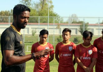 India U-16 national team head coach Bibiano Fernandes during a training session. (Photo courtesy: AIFF Media)