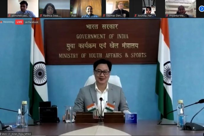 Minister of State of the Ministry of Youth Affairs and Sports Shri Kiren Rijiju during a video conference with AIFF President Praful Patel and the India U-17 Women's national team. (Photo courtesy: AIFF Media)
