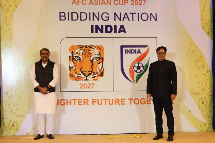 All India Football Federation (AIFF) President and FIFA Council Member Praful Patel and Hon'ble Minister of State for Youth Affairs and Sports (I/C) Shri Kiren Rijiju at India's AFC Asian Cup 2027 bid announcement function. (Photo courtesy: AIFF Media)
