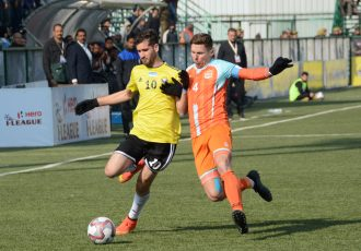 Real Kashmir FC's Danish Farooq (left) in action in the Hero I-League. (Photo courtesy: AIFF Media)