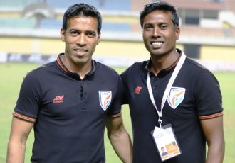 Indian Arrows head coach Shanmugam Venkatesh (right) and assistant coach Mahesh Gawli. (Photo courtesy: AIFF Media)