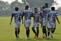 Mohammedan Sporting Club players celebrate a goal in the IFA Shield 2020. (Photo courtesy: Mohammedan Sporting Club)