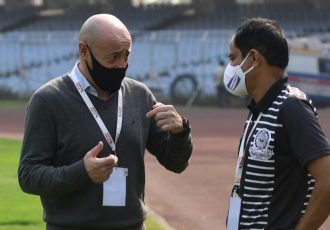 Mohammedan Sporting Club Head Coach Jose Hevia and Technical Director Shankarlal Chakraborty. (Photo courtesy: Mohammedan Sporting Club)