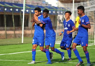 Bengaluru FC 'B' winger Akashdeep Singh (#22) celebrates with his teammates after scoring against FC Deccan in a BDFA Super Division match at the Bengaluru Football Stadium. (Photo courtesy: Bengaluru FC)