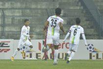 Bidyashagar Singh and his TRAU FC teammates celebrate a goal in the Hero I-League. (Photo courtesy: AIFF Media)