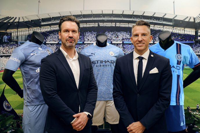 Brando Brandstaeter, Head of Brands & Communications at Midea Group's International Business Division and Stephan Cieplik, SVP of Global Partnerships at City Football Group. (Photo courtesy: Manchester City FC)