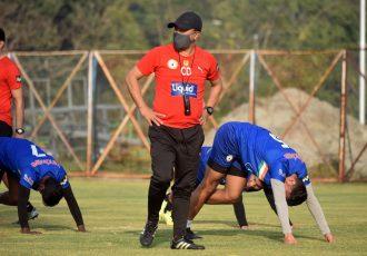 Sudeva Delhi FC head coach Chencho Dorji during a training session. (Photo courtesy: AIFF Media)