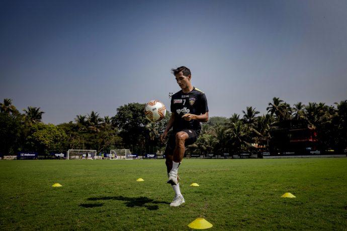 Chennaiyin FC winger Lallianzuala Chhangte in training. (Photo courtesy: Chennaiyin FC)