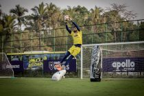 Chennaiyin FC goalkeeper Vishal Kaith in training. (Photo courtesy: Chennaiyin FC)