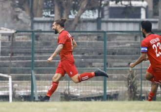 Churchill Brothers forward Luka Majcen and teammates celebrate a goal in the Hero I-League. (Photo courtesy: AIFF Media)