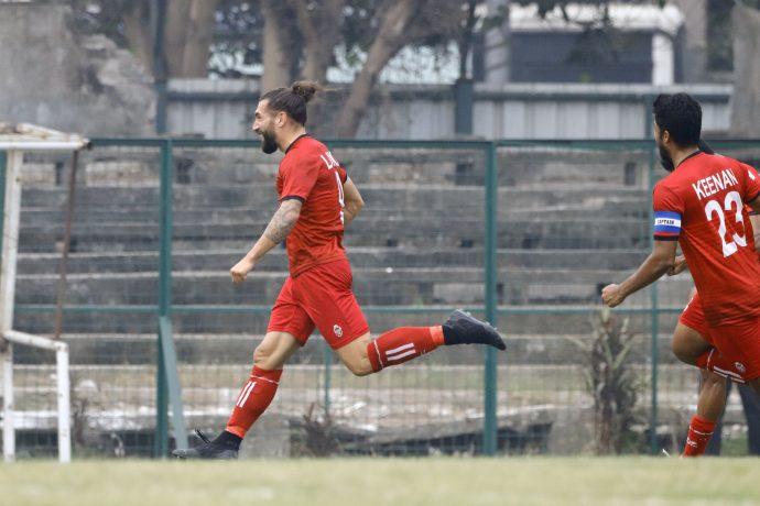 Churchill Brothers forward Luka Majcen and teammates celebrate a goal in the Hero I-League. (Photo courtesy: AIFF Media)