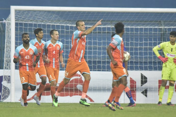Elvedin Škrijelj celebrates with his teammates after scoring for Chennai City FC against the Indian Arrows in a Hero I-League match. (Photo courtesy: AIFF Media)