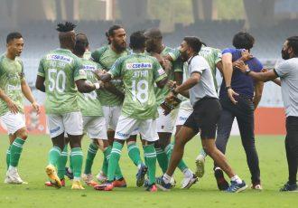 Gokulam Kerala FC celebrate a goal in the Hero I-League. (Photo courtesy: AIFF Media)
