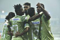 Gokulam Kerala FC players celebrate a goal in the Hero I-League. (Photo courtesy: AIFF Media)
