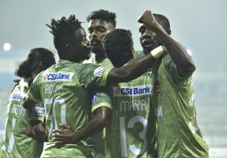 Gokulam Kerala FC players celebrate a goal in the Hero I-League. (Photo courtesy: AIFF Media)