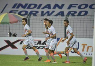 Indian Arrows players celebrate a goal in the Hero I-League. (Photo courtesy: AIFF Media)