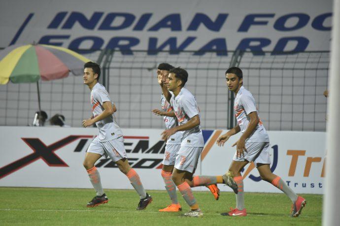 Indian Arrows players celebrate a goal in the Hero I-League. (Photo courtesy: AIFF Media)