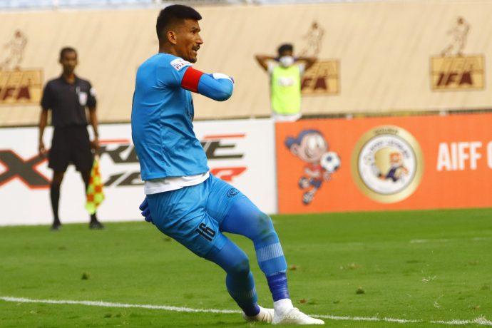 RoundGlass Punjab FC goalkeeper and Nepal national team captain Kiran Limbu. (Photo courtesy: AIFF Media)