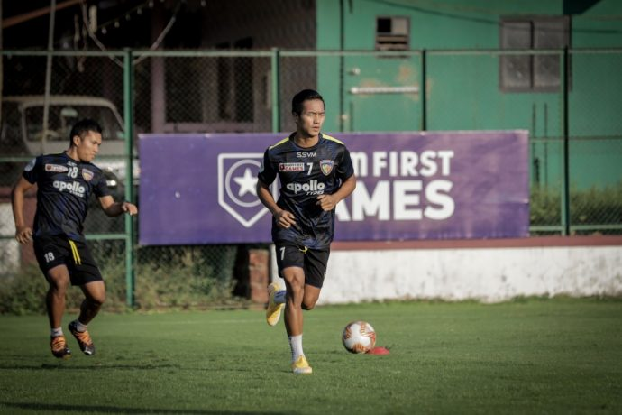Lallianzuala Chhangte (right) and Jerry Lalrinzuala (left) in Chennaiyin FC training. (Photo courtesy: Chennaiyin FC)