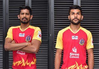 East Bengal defenders Raju Gaikwad and Ankit Mukherjee. (Photo courtesy: SC East Bengal)