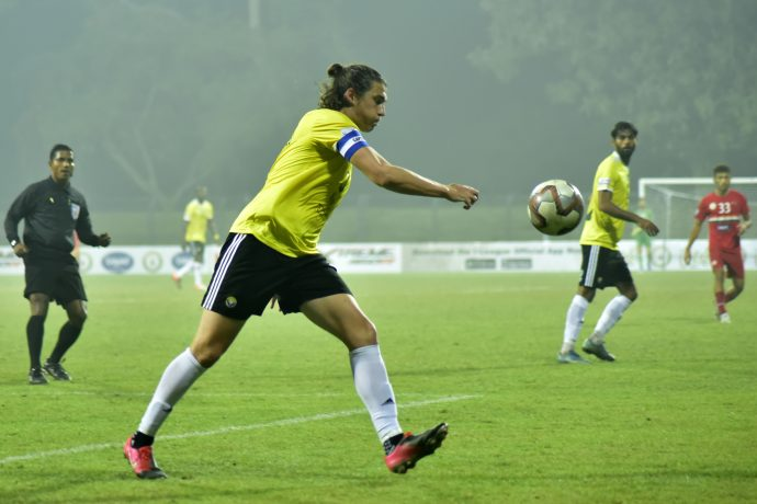 Real Kashmir's Mason Robertson in action against Sudeva Delhi FC in the Hero I-League. (Photo courtesy: AIFF Media)