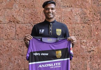 Hyderabad FC goalkeeper Sankar Roy. (Photo courtesy: Hyderabad FC)