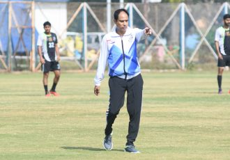 Mohammedan Sporting Club Technical Director Sankarlal Chakraborty during a training session. (Photo courtesy: AIFF Media)