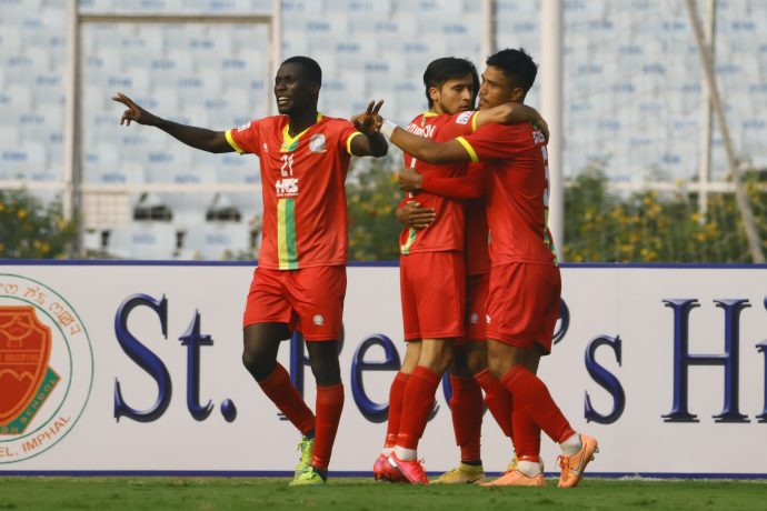 TRAU FC players celebrate a goal in the Hero I-League. (Photo courtesy: AIFF Media)