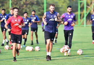 Bengaluru FC players in training at the Dempo SC training facilities in Carambolim, Goa. (Photo courtesy: Bengaluru FC)